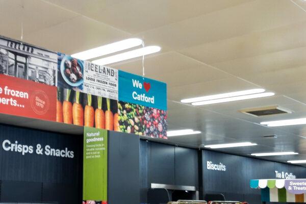 Hanging retail signage